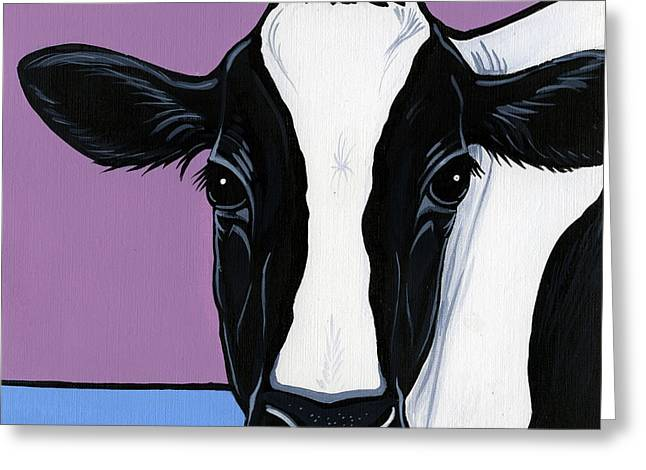 Black And White Cow Greeting Cards - Holstein Greeting Card by Leanne Wilkes