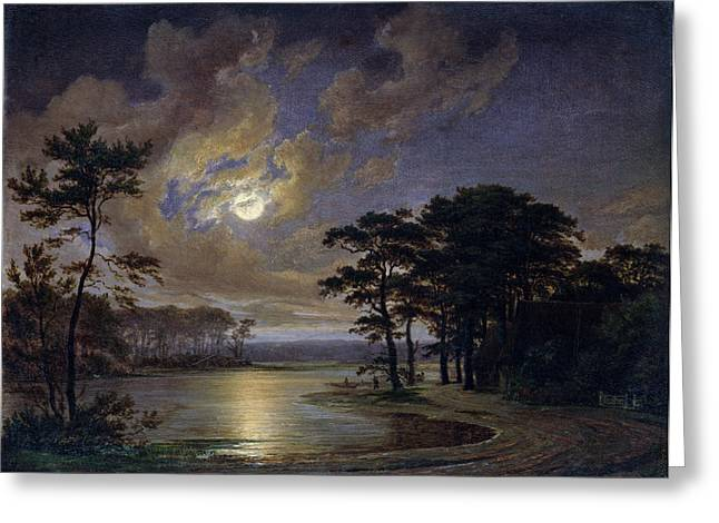Thatched Greeting Cards - Holstein Sea Moonlight Greeting Card by Johann Georg Haeselich