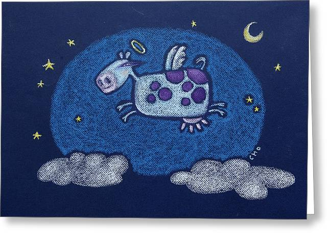 Holy Pastels Greeting Cards - Holy Cow Greeting Card by wendy CHO