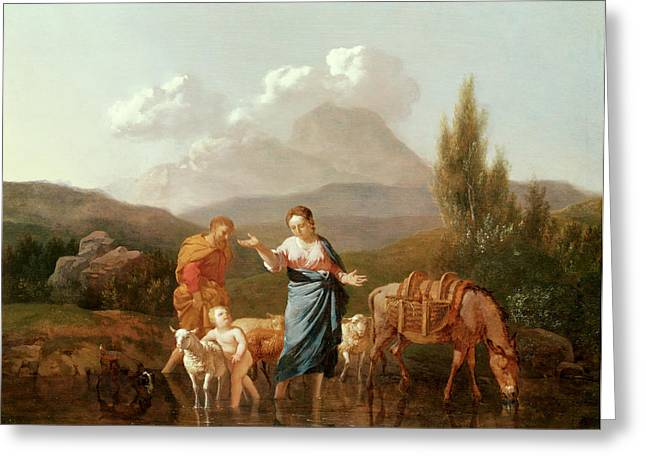 Virgin Mary Greeting Cards - Holy family at a stream Greeting Card by Karel Dujardin