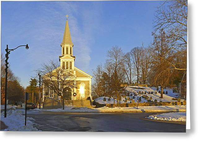 Concord. Winter Greeting Cards - Holy Family Church Concord Mass Greeting Card by Frank Winters