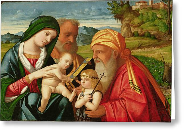 Mustache Paintings Greeting Cards - Holy Family with St. Simeon and John the Baptist Greeting Card by Francesco Rizzi da Santacroce