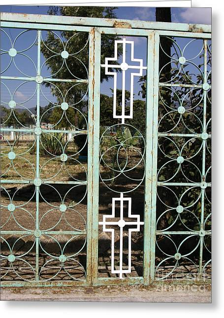 Myspace Greeting Cards - Holy Fence Greeting Card by Cherie Richardson