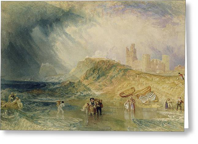 Landing Paintings Greeting Cards - Holy Island - Northumberland Greeting Card by Joseph Mallord William Turner