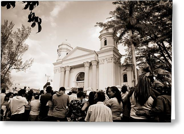 Holy Week Greeting Cards - Holy Week in Sonsonate Greeting Card by Moises Sanchez