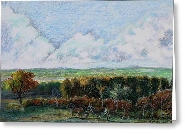 Farmer Pastels Greeting Cards - Homage to John Constable no. 2 The Farmer Plowing His Field Greeting Card by Thomas J Nixon