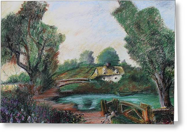 Fishermen Pastels Greeting Cards - Homage to John Constable The Fisher Men Greeting Card by Thomas J Nixon