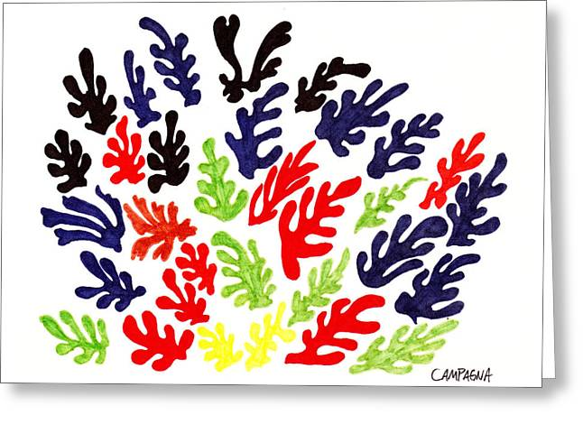 Yellow Leaves Drawings Greeting Cards - Homage To Matisse Greeting Card by Teddy Campagna
