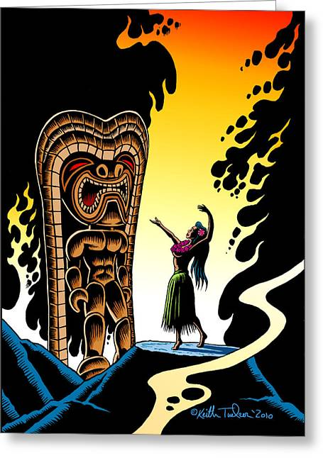 Surfing Art Drawings Greeting Cards - Homage to Tiki Greeting Card by Keith Tucker