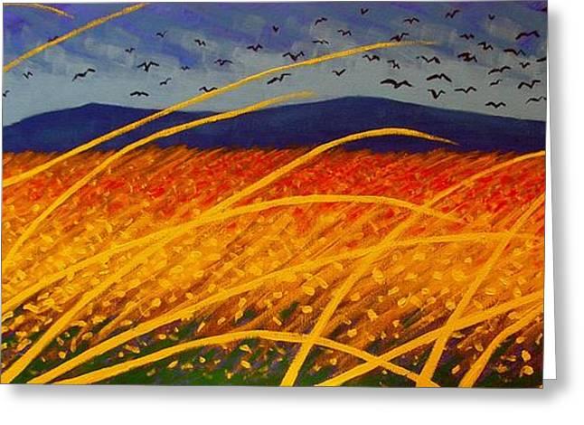 Wine-glass Greeting Cards - Homage To Van Gogh Greeting Card by John  Nolan