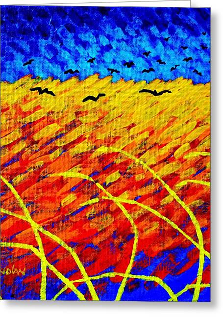 Crows Greeting Cards Greeting Cards - Homage To Vincents Wheatfield Greeting Card by John  Nolan