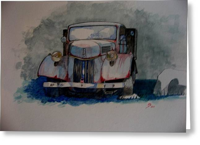 Truck Drawings Greeting Cards - Home again Greeting Card by Ray Agius