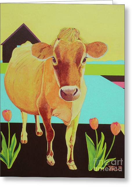 Nature Scene Paintings Greeting Cards - Home at the Farm Greeting Card by Christine Belt