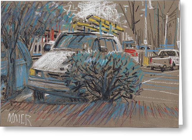 Homes Pastels Greeting Cards - Home Depot Parking Greeting Card by Donald Maier