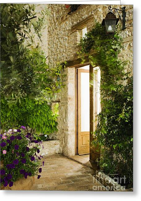 French Door Greeting Cards - Home Entrance and Courtyard Greeting Card by Andersen Ross