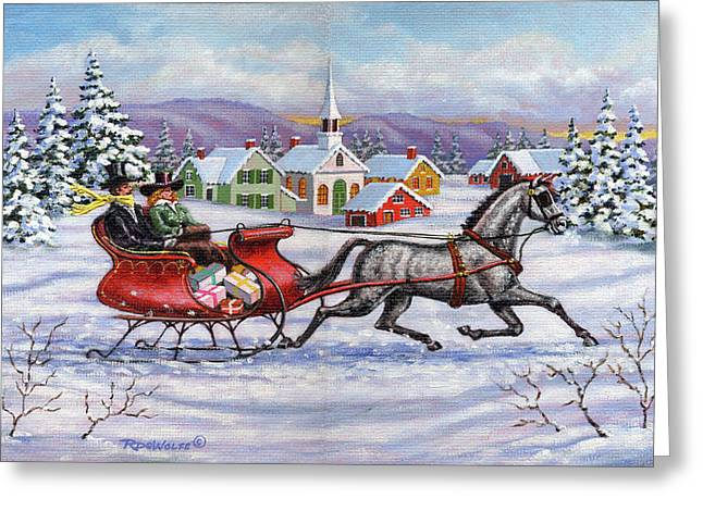 Holiday Art Greeting Cards - Home For Christmas Greeting Card by Richard De Wolfe