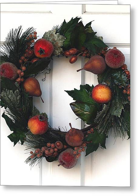 Wreath Greeting Cards - Home for the Holidays Greeting Card by Rebecca Cozart