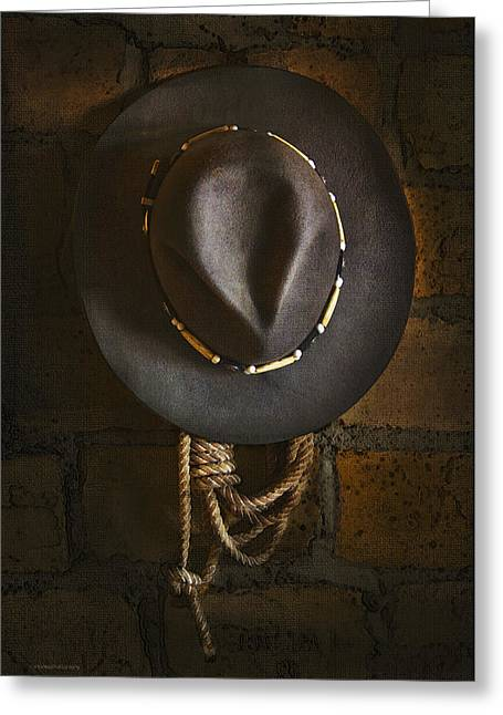 Cowboy Hats Greeting Cards - Home from The Range Greeting Card by Ron Jones