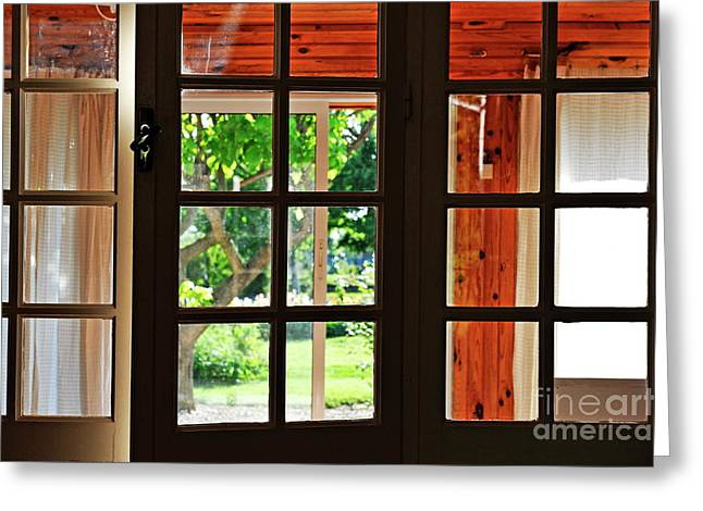 French Doors Greeting Cards - Home Garden through window Greeting Card by Sami Sarkis