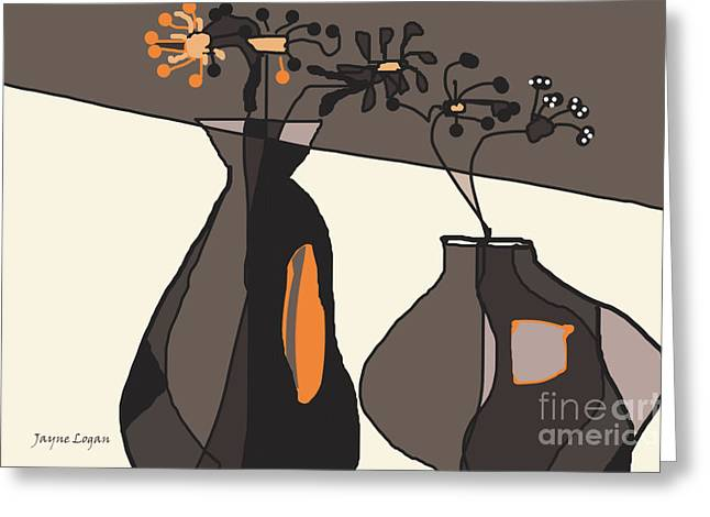 Warm Tones Digital Art Greeting Cards - Home Groove Cafe Browns Greeting Card by Jayne Logan Intveld