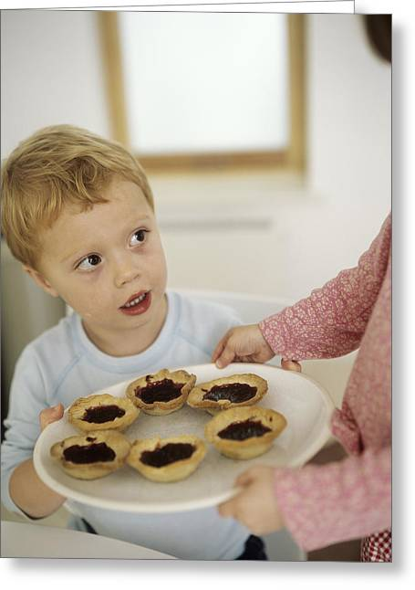 3 Year Old Girl Greeting Cards - Home-made Jam Tarts Greeting Card by Ian Boddy