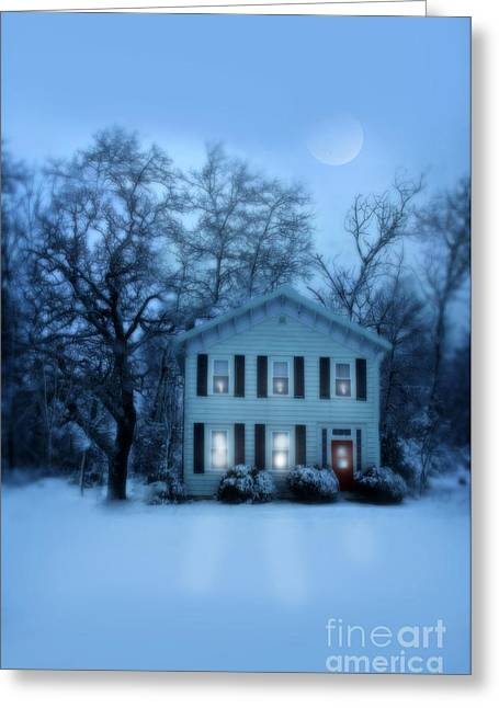 Snowy Evening Greeting Cards - Home on a Wintery Evening Greeting Card by Jill Battaglia