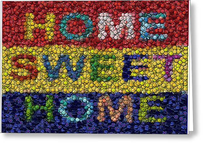 Bottlecaps Mixed Media Greeting Cards - Home Sweet Home Bottle Cap Mosaic  Greeting Card by Paul Van Scott