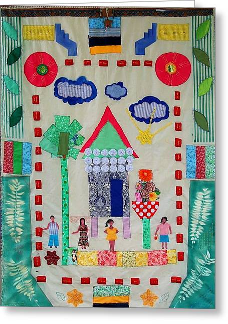 Family Tapestries - Textiles Greeting Cards - Home Sweet Home Greeting Card by Lorna Diwata Fernandez
