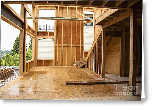 Wooden Stairs Greeting Cards - Home under construction Greeting Card by Inti St. Clair