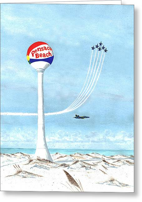 Pensacola Beach Greeting Cards - Homecoming - Blue Angels Flight Demonstration Team Greeting Card by Richard Roselli