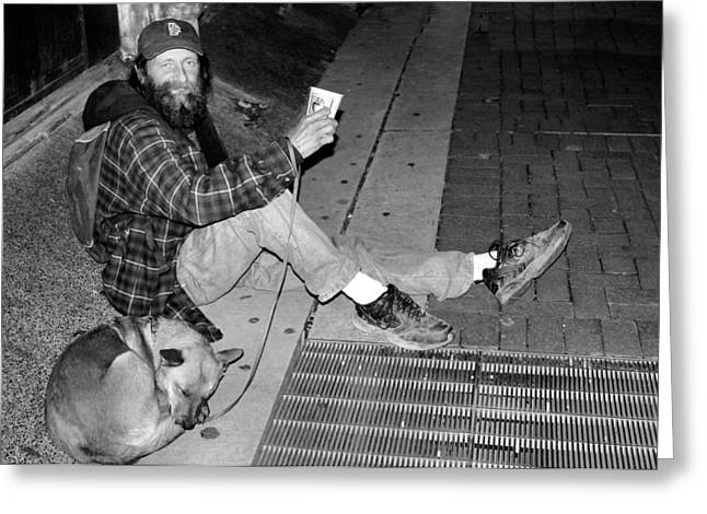 Hobo Greeting Cards - Homeless with Faithful Companion Greeting Card by Kristin Elmquist