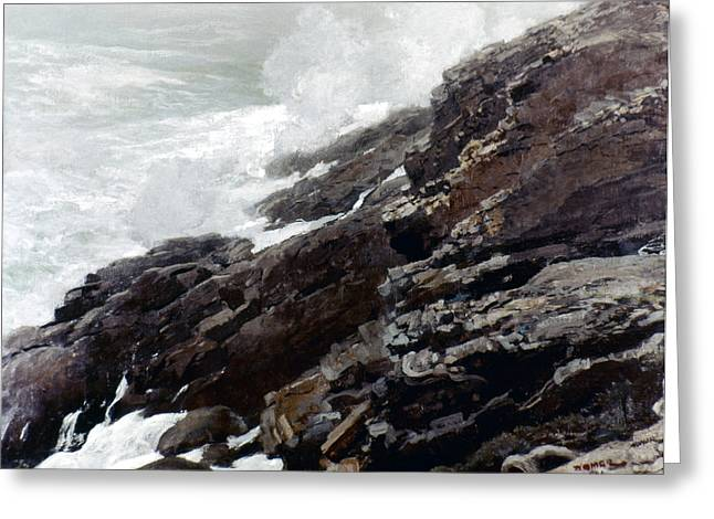 Best Sellers -  - Maine Beach Greeting Cards - Homer: High Cliff, 1894 Greeting Card by Granger