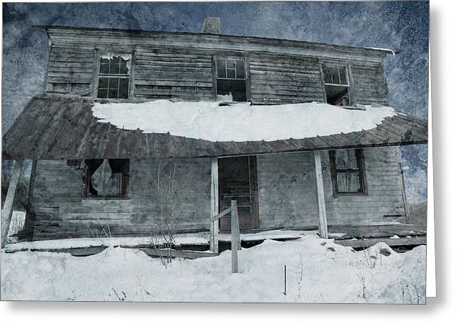 Winter Scenes Rural Scenes Greeting Cards - Homestead Blues Greeting Card by John Stephens