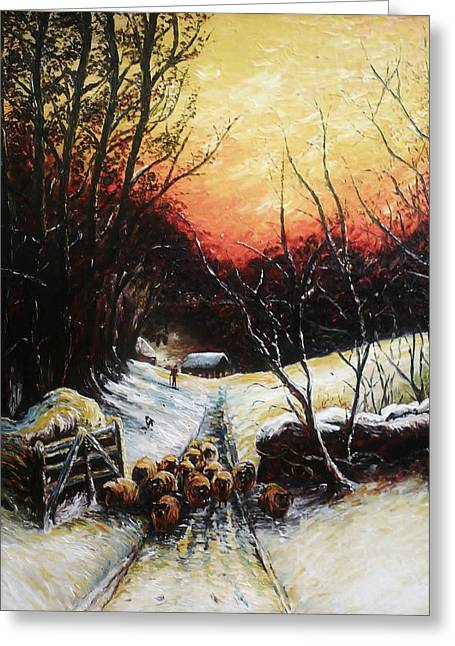 Winter Trees Drawings Greeting Cards - Homeward bound Greeting Card by Andrew Read