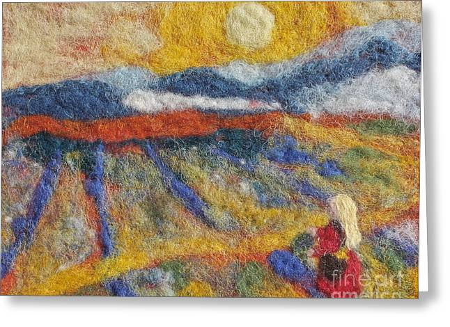 Wall-hanging Tapestries - Textiles Greeting Cards - Hommage to Van Gogh Greeting Card by Nicole Besack
