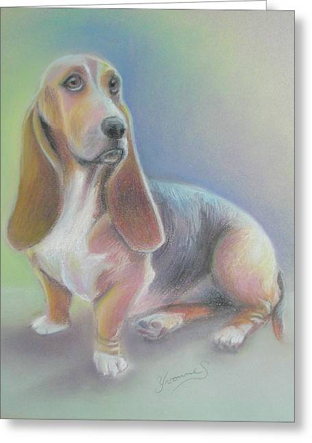 Hound Pastels Greeting Cards - Honey of a Hound Greeting Card by Yvonne Seiwell
