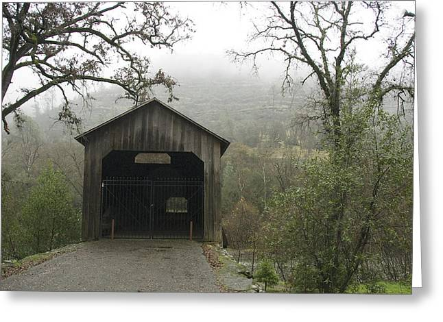 Chico Greeting Cards - Honey Run Three-level Covered Bridge Greeting Card by James Forte