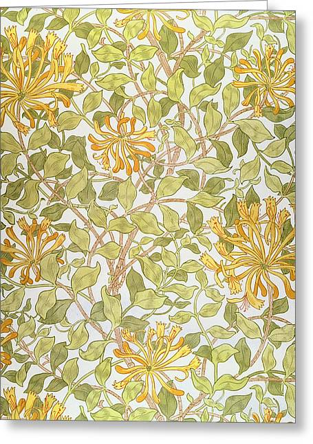 Wallpaper Tapestries Textiles Greeting Cards - Honeysuckle design Greeting Card by William Morris
