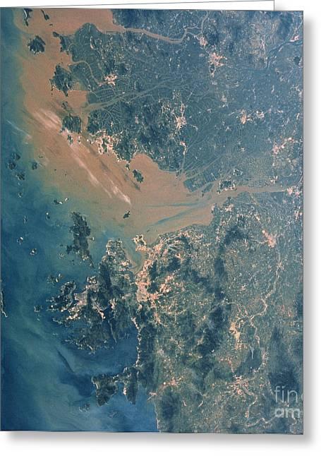 Atlantis Greeting Cards - Hong Kong And Guangzhou Seen Greeting Card by NASA / Science Source