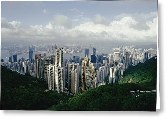 Kowloon Greeting Cards - Hong Kong Island And The Bay Greeting Card by Jason Edwards
