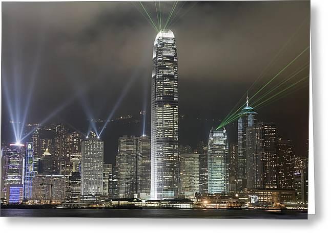 Hong Kong Light Show, At Night, Over Greeting Card by Axiom Photographic