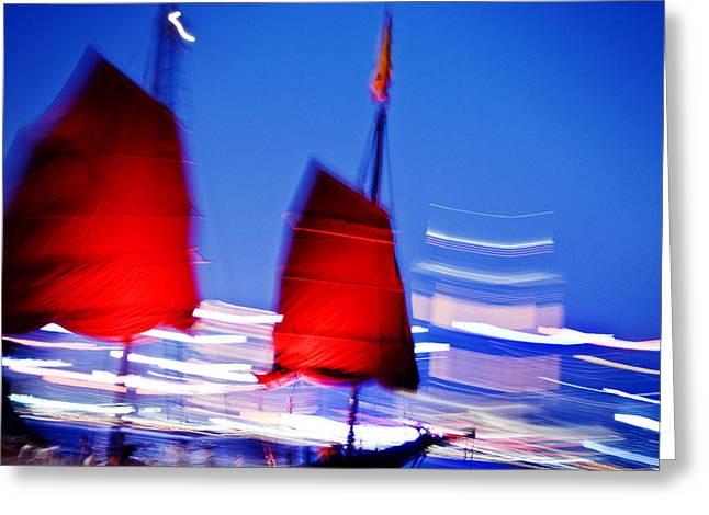 Asian Influence Greeting Cards - Hong Kong Lights Greeting Card by Ray Laskowitz - Printscapes