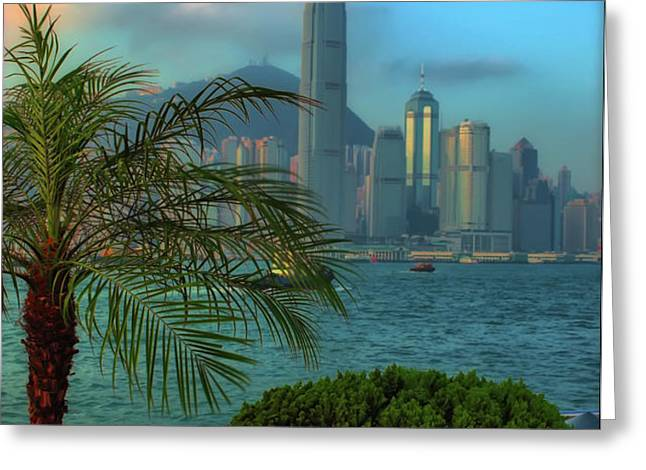 Hong Kong Mornings Greeting Card by Bibhash Chaudhuri