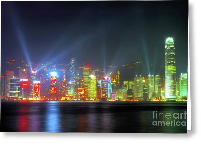 Hong Kong Night Lights Greeting Card by Bibhash Chaudhuri