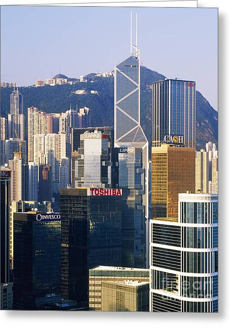 Office Space Photographs Greeting Cards - Hong Kong Skyline Looking Towards Victoria Peak Greeting Card by Jeremy Woodhouse