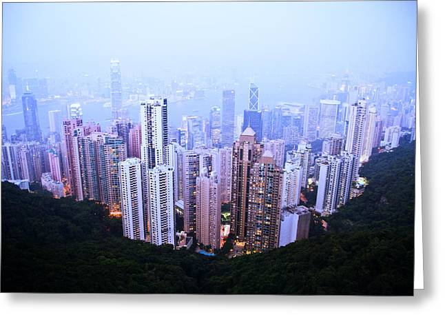 Unique View Greeting Cards - Hong Kong Skyline Greeting Card by Ray Laskowitz - Printscapes
