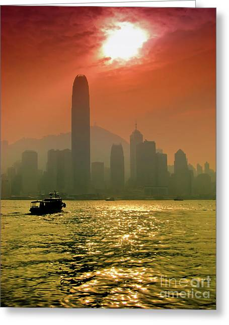 Hong Kong Sunset Greeting Card by Bibhash Chaudhuri