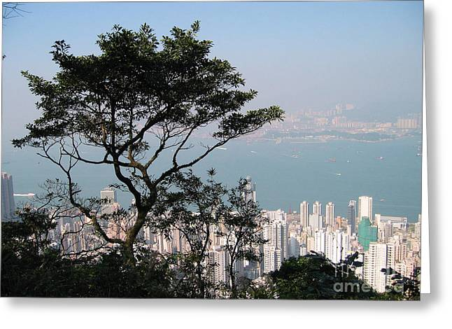 Kowloon Greeting Cards - Hong Kong Victoria Peak Greeting Card by Eva Kaufman