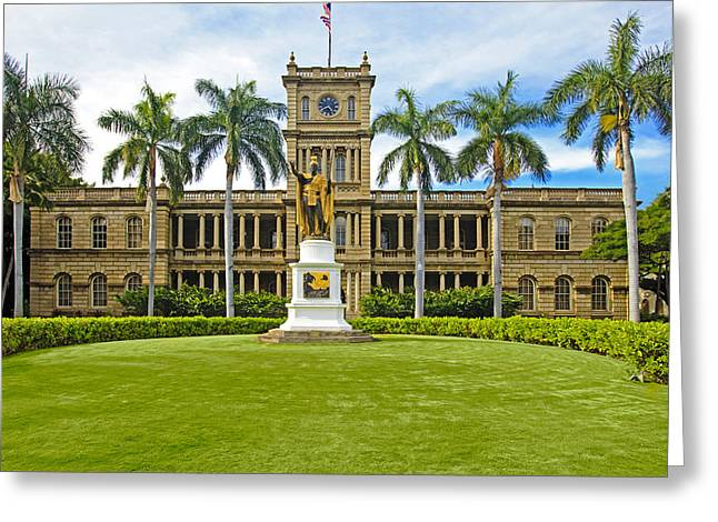 Kamehameha Greeting Cards - Honolulu Supreme Court and King Kamehameha Greeting Card by Tomas del Amo