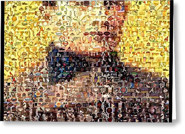 Honus Wagner Mosaic Greeting Card by Paul Van Scott